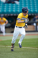 Greg Hardison of the UNCG Spartans hustles down the first base line against the San Diego State Aztecs at Springs Brooks Stadium on February 16, 2020 in Conway, South Carolina. The Spartans defeated the Aztecs 11-4.  (Brian Westerholt/Four Seam Images)