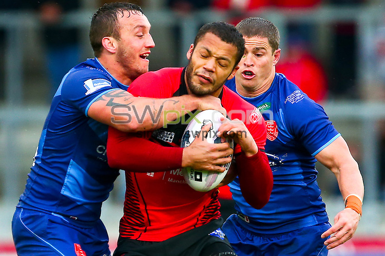 Picture by Alex Whitehead/SWpix.com - 10/05/2014 - Rugby League - First Utility Super League - Salford Red Devils v Hull Kingston Rovers - AJ Bell Stadium, Salford, England - Salford's Danny Williams is tackled by Hull KR's Josh Hodgson and Travis Burns.