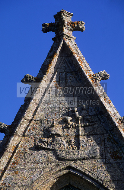 Europe/France/Bretagne/29/Finistère/Penmarch: Caravelle gravée sur les murs de l'église Sainte-Nonna (1508)