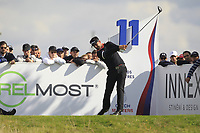 Lee Slattery (ENG) on the 11th tee during Round 4 of the D+D Real Czech Masters at the Albatross Golf Resort, Prague, Czech Rep. 03/09/2017<br /> Picture: Golffile | Thos Caffrey<br /> <br /> <br /> All photo usage must carry mandatory copyright credit     (&copy; Golffile | Thos Caffrey)
