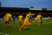Jason McCarthy of Wycombe Wanderers celebrates his goal during the Sky Bet League 2 match between AFC Wimbledon and Wycombe Wanderers at the Cherry Red Records Stadium, Kingston, England on 21 November 2015. Photo by Alan  Stanford/PRiME.
