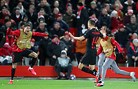 11th March 2020; Anfield, Liverpool, Merseyside, England; UEFA Champions League, Liverpool versus Atletico Madrid; Marcos Llorente of Atletico Madrid's celebrates his 105th minute goal which gave  Atletico a 2-3 aggregate lead with substitute Jose Gimenez of Atletico Madrid