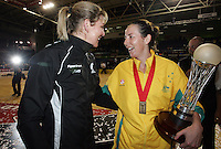 16.11.2007 Silver Ferns Irene Van Dyk and Australian Liz Ellis after the Silver Ferns v Australia Final at the New World Netball World Champs held at Trusts Stadium Auckland New Zealand. Mandatory Photo Credit ©Michael Bradley.