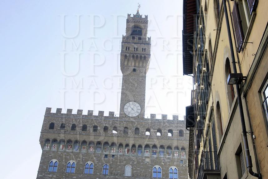 Dettaglio di Palazzo Vecchio, in Piazza Signoria, a Firenze.<br /> A detail of Palazzo Vecchio, in Piazza della Signoria, Florence.<br /> UPDATE IMAGES PRESS/Riccardo De Luca