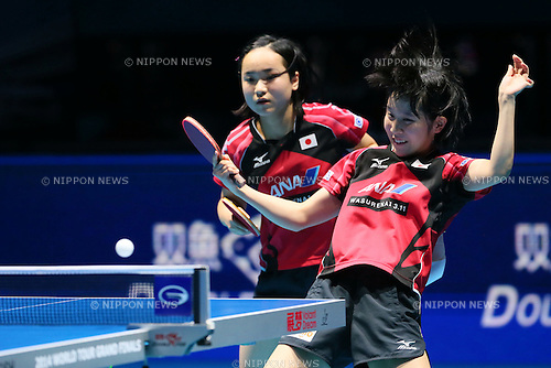 (L to R) <br /> Mima Ito, <br /> Miu Hirano (JPN), <br /> DECEMBER 13, 2014 - Table Tennis : <br /> GAC Group 2014 ITTF World Tour Grand Finals <br /> Women's Doubles Final <br /> at Indoor Stadium Huamark, Bangkok, Thailand <br /> (Photo by YUTAKA/AFLO SPORT) [1040]