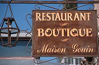 """Europe/France/Provence-Alpes-Côte d'Azur/84/Vaucluse/Maubec: Enseigne du Restaurant Epicerie """"Maison Gouin"""" pl du marché paysan"""