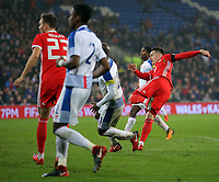 Tom Lawrence of Wales (R) scores the opening goal during the international friendly soccer match between Wales and Panama at Cardiff City Stadium, Cardiff, Wales, UK. Tuesday 14 November 2017.