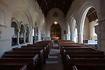 Interior Victorian village parish church of Saint Margaret of Antioch, Leigh Delamere,  Wiltshire, England, UK 1846