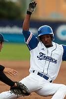 26 july 2010: Felix Brown of France slides safely into third base during France 10-2 victory over Ukraine, in day 4 of the 2010 European Championship Seniors, in Neuenburg, Germany.
