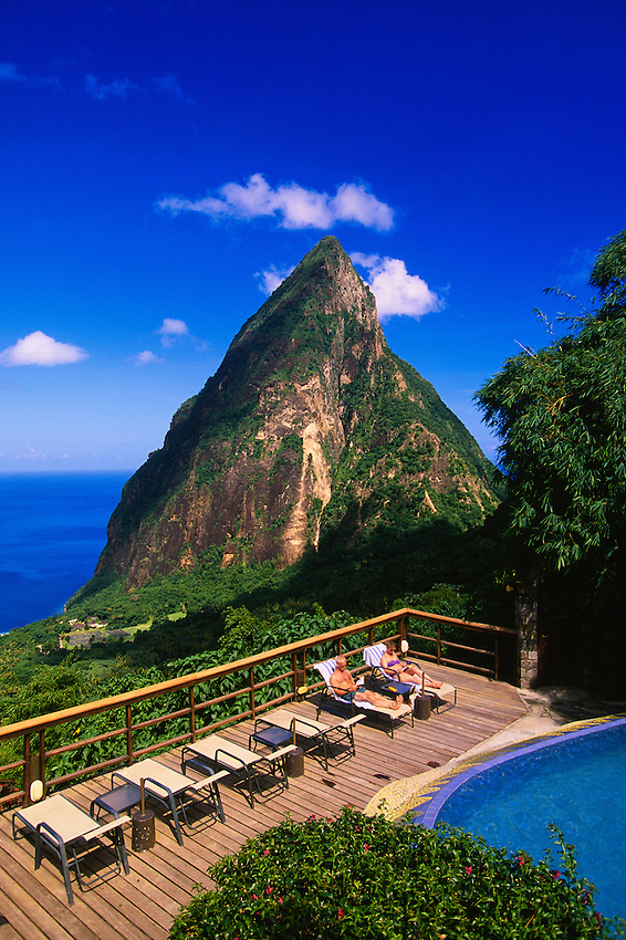View of Petit Piton from Ladera Resort, Soufriere, St. Lucia