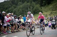 Rui Costa (POR/UAE) & Simon Clarke (AUS/EF Education First) up the Horquette d'Ancizan<br /> <br /> Stage 12: Toulouse to Bagnères-de-Bigorre(209km)<br /> 106th Tour de France 2019 (2.UWT)<br /> <br /> ©kramon