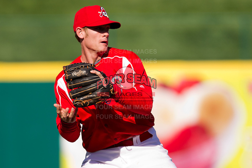 Ryan Jackson (23) of the Springfield Cardinals throws to first base during a game against the Frisco RoughRiders on April 16, 2011 at Hammons Field in Springfield, Missouri.  Photo By David Welker/Four Seam Images