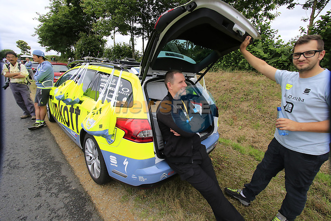 Tinkoff staff wait for their riders pass through the feed zone at La Hargriniere during Stage 3 of the 2016 Tour de France, running 223.5km from Granville to Angers, France . 4th July 2016.<br /> Picture: Eoin Clarke | Newsfile<br /> <br /> <br /> All photos usage must carry mandatory copyright credit (&copy; Newsfile | Eoin Clarke)