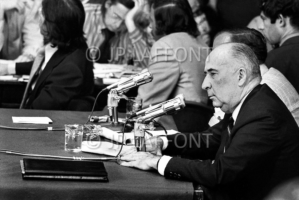 Washington DC, 1973. John Mitchell testifies during Watergate Hearings. A break in at the Democratic National Committee headquarters at the Watergate complex on June 17, 1972 results in one of the biggest political scandals the US government has ever seen.  Effects of the scandal ultimately led to the resignation of  President Richard Nixon, on August 9, 1974, the first and only resignation of any U.S. President.