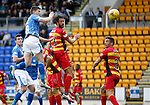 St Johnstone v Partick Thistle....17.10.15  SPFL     McDiarmid Park, Perth<br /> Graham Cummins heads just wide<br /> Picture by Graeme Hart.<br /> Copyright Perthshire Picture Agency<br /> Tel: 01738 623350  Mobile: 07990 594431