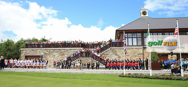 Scene at the Closing Ceremony after GB&amp;I win 3 and a half points during the Sunday Singles to win the 2016 Curtis Cup, played at Dun Laoghaire GC, Enniskerry, Co Wicklow, Ireland. 12/06/2016. Picture: David Lloyd | Golffile. <br /> <br /> All photo usage must display a mandatory copyright credit to &copy; Golffile | David Lloyd.