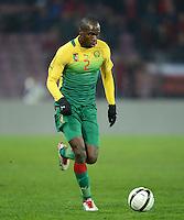 FUSSBALL   INTERNATIONAL   Testspiel    Albanien - Kamerun       14.11.2012 Allan Romeo Nyom (Kamerun) am Ball