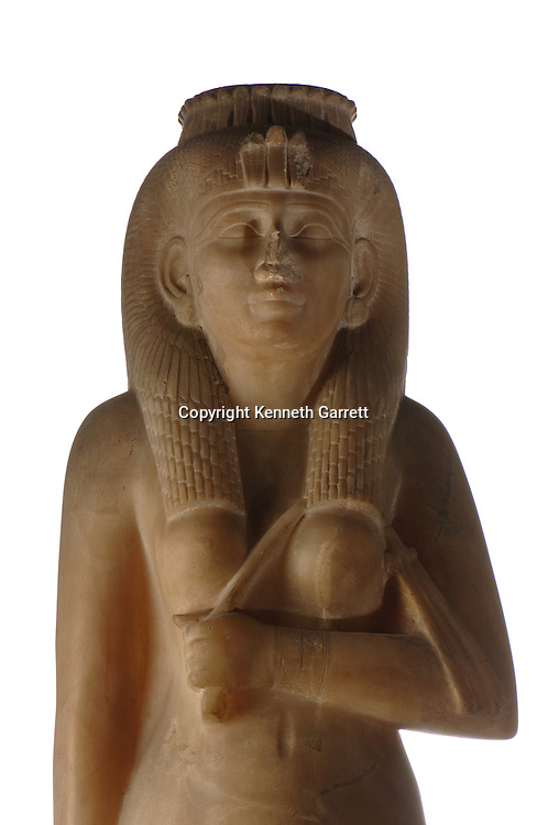 Amenirdis statue,Black Pharaohs, Nubians, Egypt, The Egyptian Museum, Cairo, alabaster, Late Period, from Temple at Karnak, Reign of Shabaka, a story related to this figure is that Guiseppe Verdi based character Queen Amneris in his opera Aida on