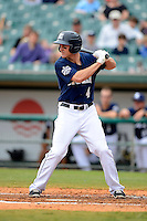 New Orleans Zephyrs outfielder Kevin Mattison #4 during a game against the Round Rock Express on April 15, 2013 at Zephyr Field in New Orleans, Louisiana.  New Orleans defeated Round Rock 3-2.  (Mike Janes/Four Seam Images)