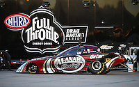 Nov 12, 2010; Pomona, CA, USA; The car of NHRA funny car driver Del Worsham is towed back to the pits during qualifying for the Auto Club Finals at Auto Club Raceway at Pomona. Mandatory Credit: Mark J. Rebilas-
