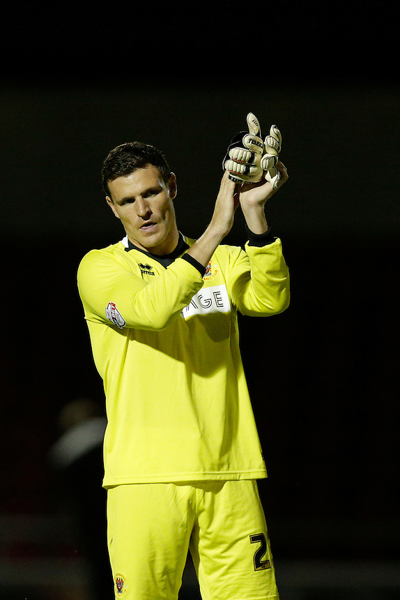 Blackpool's Kyle Letheren applauds the away fans at the end of the match<br /> <br /> Photographer Craig Mercer/CameraSport<br /> <br /> Football - Capital One Cup First Round - Northampton v Blackpool - Tuesday 11th August 2015 - Sixfields Stadium - Northampton<br />  <br /> &copy; CameraSport - 43 Linden Ave. Countesthorpe. Leicester. England. LE8 5PG - Tel: +44 (0) 116 277 4147 - admin@camerasport.com - www.camerasport.com