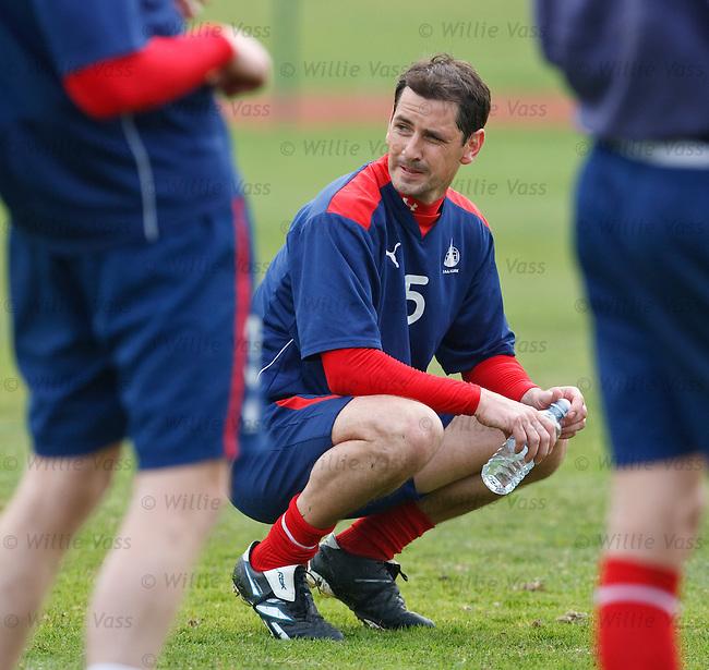 Jackir McNamara takes a breather during training at Stirling University