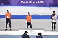 OLYMPIC GAMES: PYEONGCHANG: 13-02-2018, Gangneung Oval, Long Track, 1500m Men, Final Result, Patrick Roest (NED), Kjeld Nuis (NED), Kim Min Seok (KOR), ©photo Martin de Jong