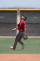 Arizona Diamondbacks shortstop Jose Caballero (13) prepares to catch a pop fly during an Extended Spring Training game against the Cleveland Indians at the Cleveland Indians Training Complex on May 27, 2018 in Goodyear, Arizona. (Zachary Lucy/Four Seam Images)