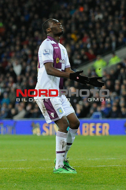 Aston Villa's Christian Benteke cuts a dejected figure after Aston Villa's Andreas Weimann decides to pass the ball to him instead of shooting himself -    11/02/2014 - SPORT - FOOTBALL - Cardiff - Cardiff City Stadium - Cardiff City v Aston Villa - Barclays Premier League<br /> Foto nph / Meredith<br /> <br /> ***** OUT OF UK *****