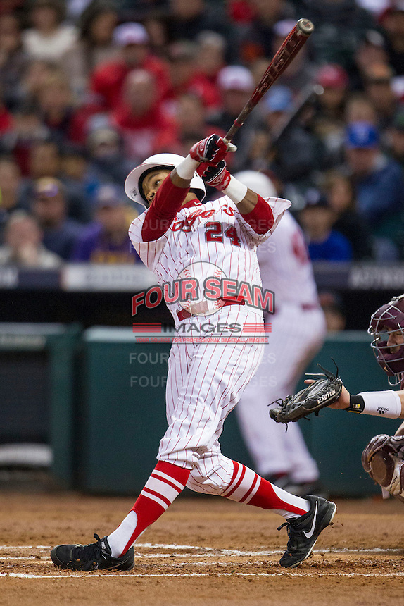 Houston Cougars outfielder Corey Julks (24) swings the bat during the NCAA baseball game against the Texas A&M Aggies on March 7, 2015 in the Houston College Classic at Minute Maid Park in Houston, Texas. Texas A&M defeated Houston 6-0. (Andrew Woolley/Four Seam Images)