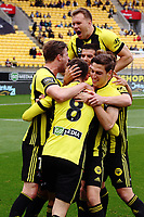 The Phoenix celebrate Dario Vidosic's goal during the A-League football match between Wellington Phoenix and Adelaide United FC at Westpac Stadium in Wellington, New Zealand on Sunday, 8 October 2017. Photo: Mike Moran / lintottphoto.co.nz
