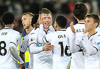 Teammates celebrate with goal scorer Alfie Mawson of Swansea City  at full time during the Premier League match between Swansea City and Liverpool at the Liberty Stadium, Swansea, Wales on 22 January 2018. Photo by Mark Hawkins / PRiME Media Images.