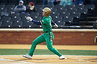Daniel Jung (31) of the Notre Dame Fighting Irish follows through on his swing against the Wake Forest Demon Deacons at David F. Couch Ballpark on March 10, 2019 in  Winston-Salem, North Carolina. The Demon Deacons defeated the Fighting Irish 7-4 in game one of a double-header.  (Brian Westerholt/Four Seam Images)