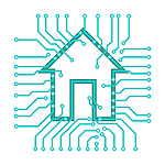 Connected home symbol conceptual illustration of PCB circuits with a house symbol isolated on white background. Vector illustration is available on request.