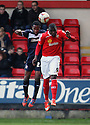 Mathias Pogba of Crewe and Miguel Comminges of Stevenage challenge for a header. Crewe Alexandra v Stevenage - npower League 1 - The Alexandra Stadium, Gresty Road, Crewe - 5th January, 2013. © Kevin Coleman 2013.