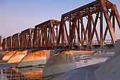 Train trestle bridge over Los Angeles River, South Gate, Los Angeles County, California, USA