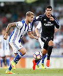 Real Sociedad's Inigo Martinez (l) and Real Madrid's Alvaro Morata during La Liga match. August 21,2016. (ALTERPHOTOS/Acero)