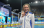 Hannah Miley (SCO) with her silver medal. Swimming finals. XXI Commonwealth games. Optus Aquatics Centre. Gold Coast 2018. Queensland. Australia. 05/04/2018. ~ MANDATORY CREDIT Garry Bowden/SIPPA - NO UNAUTHORISED USE - +44 7837 394578