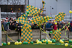 Away supporters with flags and balloons gathering behind a goal before the Boxing Day derby match between Runcorn Town and visitors Runcorn Linnets at the Pavilions, Runcorn, in a top-of the table North West Counties League premier division match. Runcorn Linnets won 1-0 and overtook their neighbours at the top of the league in a game watched by 803 spectators. Runcorn Linnets were a successor club to Runcorn FC, one of England foremost non-League clubs of the 1970s and 1980s.