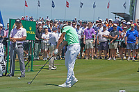 Rafa Cabrera Bello (ESP) tees off on the first hole during the third round of the 118th U.S. Open Championship at Shinnecock Hills Golf Club in Southampton, NY, USA. 16th June 2018.<br /> Picture: Golffile | Brian Spurlock<br /> <br /> <br /> All photo usage must carry mandatory copyright credit (&copy; Golffile | Brian Spurlock)