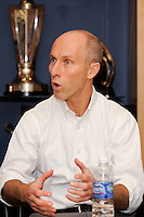 United States head coach Bob Bradley  answers questions during a press conference announcing a contract extension for U. S. Men's National Soccer Team head coach Bob Bradley in New York, NY, on August 31, 2010.