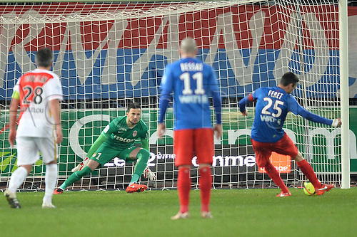 04.03.2016. Caen, France. French League 1 football. Caen versus Monaco.  JULIEN FERET (caen) scores from the penalty spot for Caen past keeper DANIJEL SUBASIC (mon)