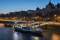 Tattershall Castle, a boat restaurant on the River Thames, Embankment, London, England