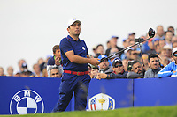 Francesco Molinari (Team Europe) on the 7th tee during Friday Fourball at the Ryder Cup, Le Golf National, Iles-de-France, France. 28/09/2018.<br /> Picture Thos Caffrey / Golffile.ie<br /> <br /> All photo usage must carry mandatory copyright credit (© Golffile | Thos Caffrey)