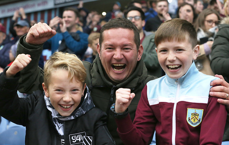 Burnley fans celebrate at the final whistle<br /> <br /> Photographer Rich Linley/CameraSport<br /> <br /> The Premier League - Burnley v Everton - Saturday 5th October 2019 - Turf Moor - Burnley<br /> <br /> World Copyright © 2019 CameraSport. All rights reserved. 43 Linden Ave. Countesthorpe. Leicester. England. LE8 5PG - Tel: +44 (0) 116 277 4147 - admin@camerasport.com - www.camerasport.com