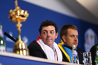 A subtle air of another major achievement for Rory McIlroy (EUR)  at  the final European Team Press Conference after Sunday's Singles at the 2014 Ryder Cup from Gleneagles, Perthshire, Scotland. Picture:  David Lloyd / www.golffile.ie