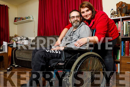 Darren Lavery and his wife Nadine at home in Listowel on Tuesday. Who have set up a gofundme page to raise money for an Ipad and an App to record his voice so he can still speak to his kids.