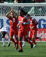 11 April 2009: Toronto FC midfielder Dewayne DeRosario #14 thanks the BMO crowd after scoring the first goal during MLS action at BMO Field Toronto, in a game between FC Dallas and Toronto FC. .Final score was a 1-1 draw.