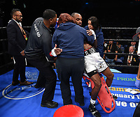 ONTARIO, CA - DECEMBER 21: Donnis Reed after being knocked out by Raymond Guajardo on the Fox Sports PBC Fight Night at Toyota Arena on December 21, 2019 in Ontario, California. (Photo by Frank Micelotta/Fox Sports/PictureGroup)