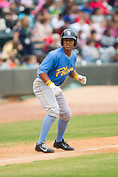 Christopher Bostick (11) of the Myrtle Beach Pelicans takes his lead off of third base against the Winston-Salem Dash at BB&T Ballpark on May 7, 2014 in Winston-Salem, North Carolina.  The Pelicans defeated the Dash 5-4 in 11 innings.  (Brian Westerholt/Four Seam Images)